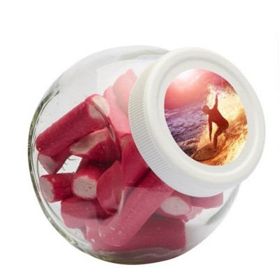Picture of 395ML & 375GR CANDY JAR with White Plastic Lid & Filled with Cherry Stick
