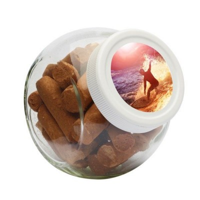 Picture of 395ML & 440GR CANDY JAR with White Plastic Lid & Filled with Cinnamon Stick