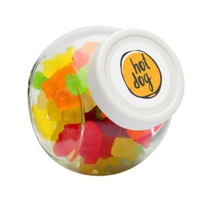Picture of 395ML & 480GR CANDY JAR with White Plastic Lid & Filled with Gummy Bears