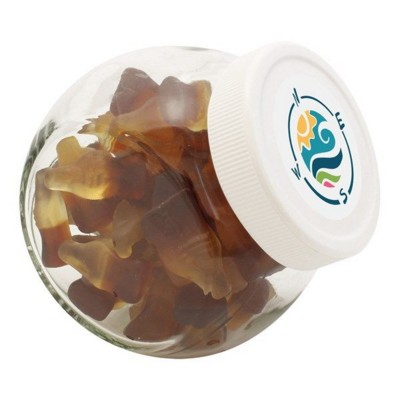 Picture of 395ML & 460GR CANDY JAR with White Plastic Lid & Filled with Haribo Cola Bottles