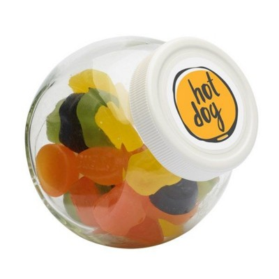 Picture of 395ML & 485GR CANDY JAR with White Plastic Lid & Filled with Wine Gums