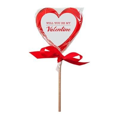 Picture of HEART SHAPE LOLLIPOP with Printed Sticker