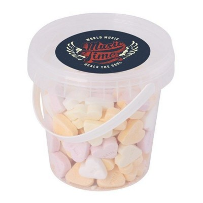 Picture of 500GR PLASTIC BUCKET FILLED with Sugar Hearts