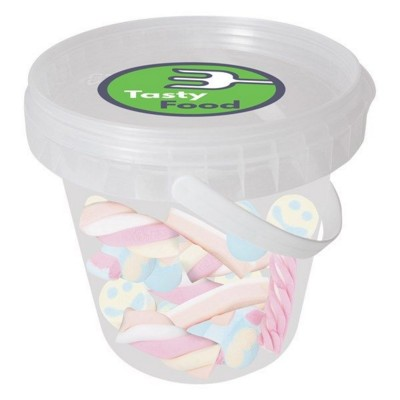 Picture of 150GR PLASTIC BUCKET FILLED with Twisted Marshmallows