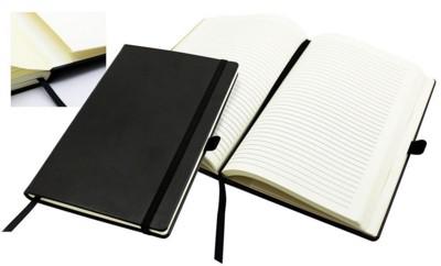 Picture of A5 CASEBOUND NOTE BOOK in Black Belluno PU Leatherette Leather