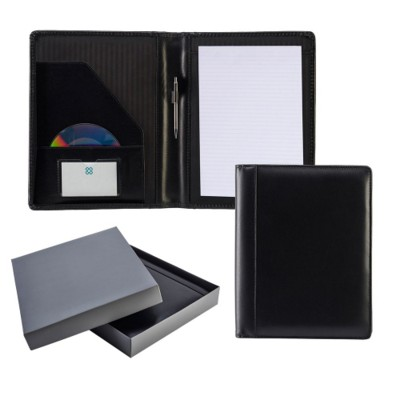 Picture of ASCOT HIDE LEATHER ZIP CONFERENCE FOLDER in Black