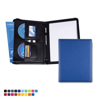 Picture of TORINO A4 DELUXE ZIP CONFERENCE FOLDER in Matt Lustre Velvet Touch Torino PU Leather