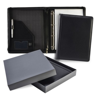 Picture of ASCOT HIDE LEATHER ZIP RING BINDER in Black