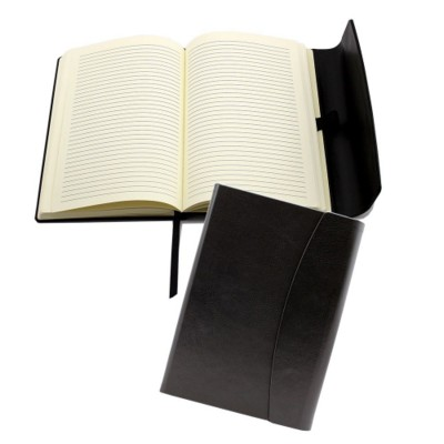 Picture of A5 MAGNET NOTE BOOK in Black, Finished in Leather Look PU