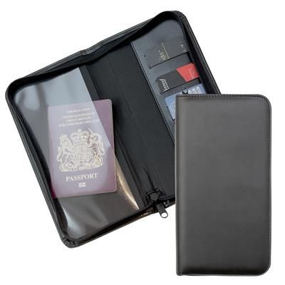 Picture of BLACK ZIP TRAVEL WALLET with One Clear Transparent Pocket & One Material Pocket with Card Slots