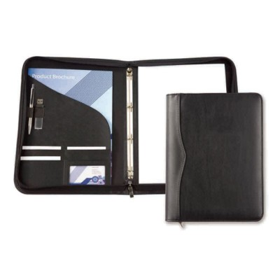 Picture of HOUGHTON PU A4 ZIP RING BINDER in Black with Stitching Detail to Spine