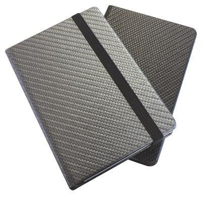 Picture of CARBON FIBRE TEXTURED A5 CASEBOUND NOTE BOOK with Elastic Strap