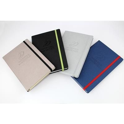Picture of SAFFIANO TEXTURED A5 CASEBOUND NOTE BOOK with Elastic Strap