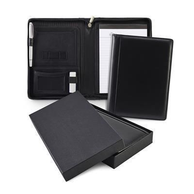 Picture of SANDRINGHAM NAPPA LEATHER A5 ZIP AROUND CONFERENCE FOLDER in Black