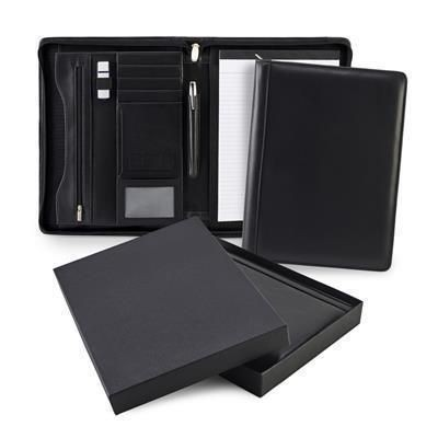 Picture of SANDRINGHAM NAPPA LEATHER A4 ZIP CONFERENCE FOLDER in Black