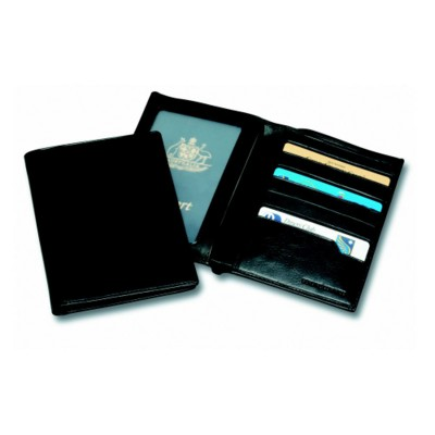 Picture of SANDRINGHAM NAPPA LEATHER DELUXE PASSPORT WALLET in Black