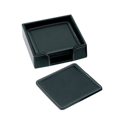 Picture of SANDRINGHAM NAPPA LEATHER SQUARE COASTER SET in Black
