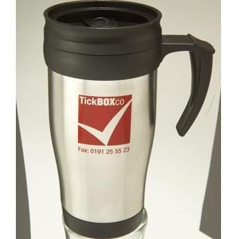 Picture of METAL TRAVEL MUG in Silver & Black