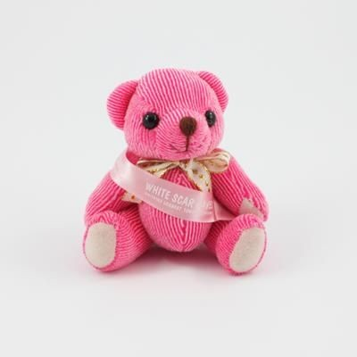 Picture of 12CM SASH RASPBERRY CANDY BEAR