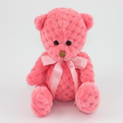 Picture of 15CM BOW BLOSSOM WAFFLE BEAR