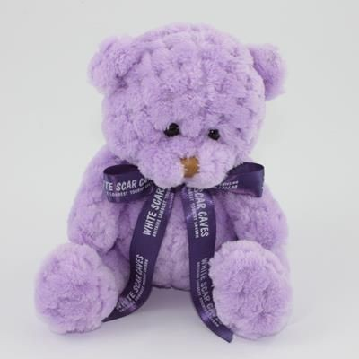 Picture of 15CM BOW ORCHID WAFFLE BEAR