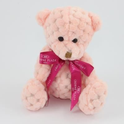 Picture of 15CM BOW PEACH WAFFLE BEAR