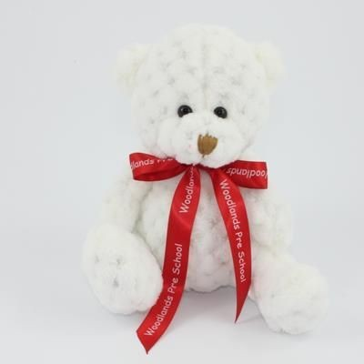 Picture of 15CM BOW SNOWDROP WAFFLE BEAR