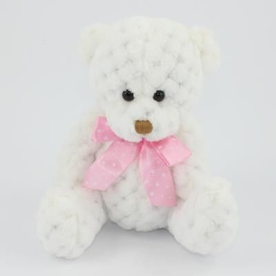 Picture of 15CM PLAIN  SNOWDROP WAFFLE BEAR