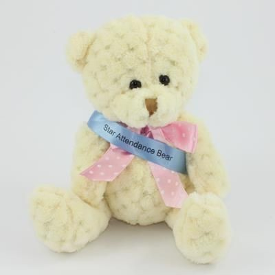 Picture of 15CM SASH BUTTERMILK WAFFLE BEAR