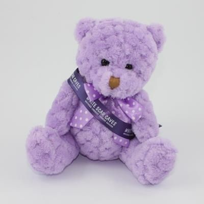 Picture of 15CM SASH ORCHID WAFFLE BEAR