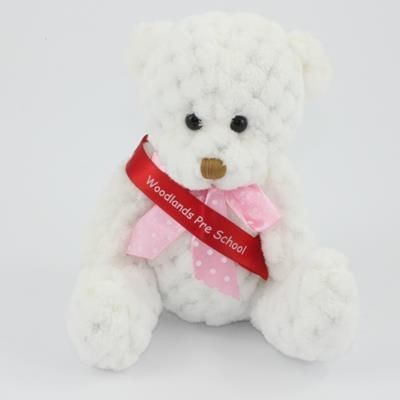 Picture of 15CM SASH SNOWDROP WAFFLE BEAR