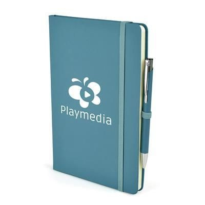 Picture of 2-IN-1 A5 MOLE NOTE BOOK & PEN in Cyan