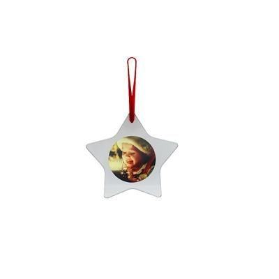Picture of STAR SHAPE GLASS CHRISTMAS DECORATION with Round Printed Insert to One Side