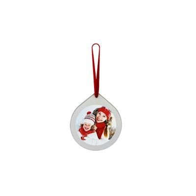 Picture of TEAR DROP SHAPE GLASS CHRISTMAS DECORATION with Round Printed Insert to One Side