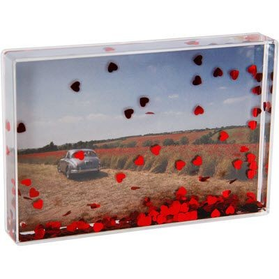 Picture of HEART SHAPE RED SEQUINS AND LIQUID FILLED ACRYLIC CUBE BLOCK with Large Branding Area