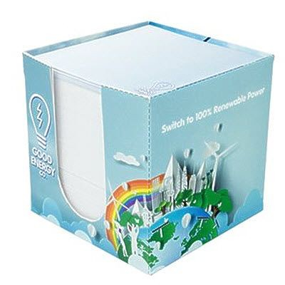Picture of RECYCLED CARD PAPER CUBE BLOCK HOLDER with Printed Paper Cube Block