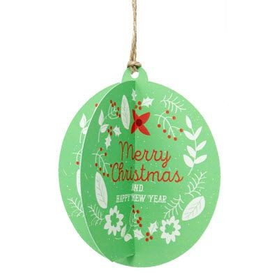 Picture of RECYCLED INTERLOCKING CARD BAUBLE with Tied Jute String Loop