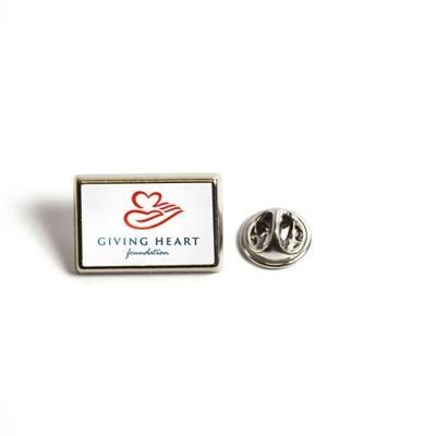 Picture of RECTANGULAR METAL PIN BADGE with Butterfly Pin Back Fitting