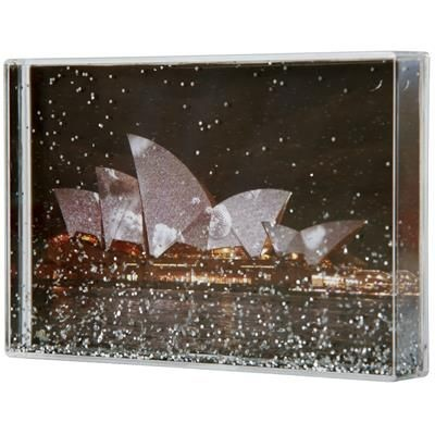 Picture of SILVER GLITTER AND LIQUID FILLED RECTANGULAR ACRYLIC CUBE BLOCK with Large Branding Area
