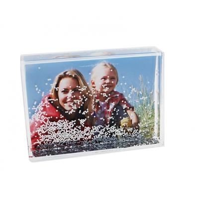 Picture of SILVER GLITTER AND LIQUID FILLED RECTANGULAR ACRYLIC CUBE BLOCK