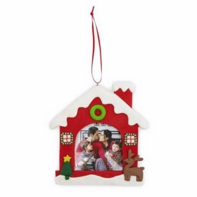 Picture of HOUSE SHAPE CHRISTMAS DECORATION with Red Satin Ribbon Loop