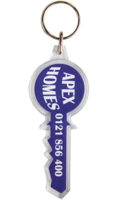 Picture of ACRYLIC KEY SHAPE KEYRING in Clear Transparent