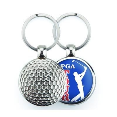 Picture of SILVER COLOUR METAL KEYRING in Golf Ball Design