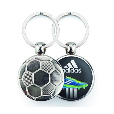Picture of SILVER COLOUR METAL KEYRING in Football Design
