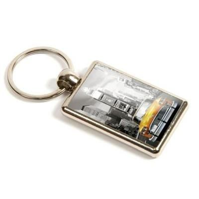 Picture of SILVER COLOUR METAL KEYRING with Full Colour Branding to Both Sides