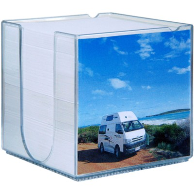 Picture of PLASTIC MEMO NOTE PAD CUBE BLOCK HOLDER in Clear Transparent