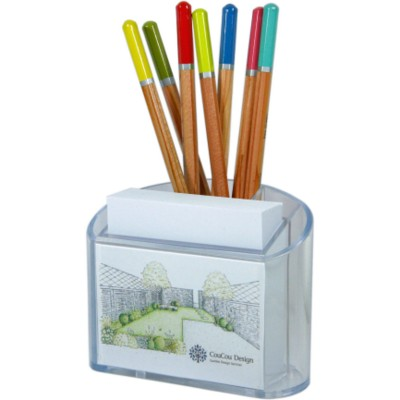 Picture of PLASTIC PEN & NOTE PAD CUBE BLOCK HOLDER in Clear Transparent