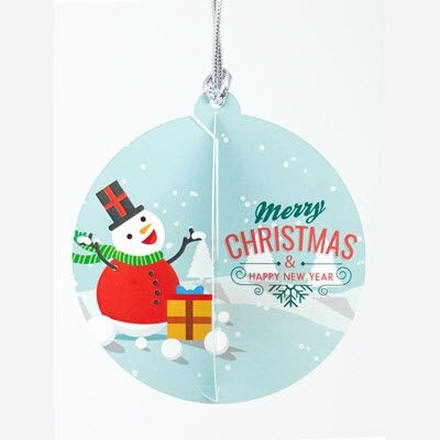 Picture of INTERLOCKING CARD BAUBLE with Tied Silver String Loop