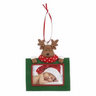 Picture of REINDEER CHRISTMAS DECORATION with Red Satin Ribbon Loop