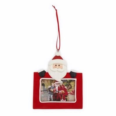Picture of FATHER CHRISTMAS SANTA CHRISTMAS DECORATION with Red Satin Ribbon Loop